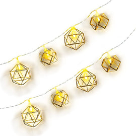 Gold Geo Shape Battery Operated LED String Lights