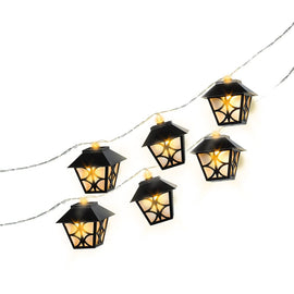Black Lantern Battery Operated LED String Lights
