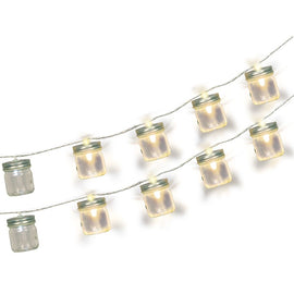 Clear Glass Mason Jar Battery Operated LED String Lights