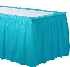 Caribbean Blue Solid Color Plastic Table Skirt, 14' x 29""