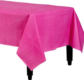 "Bright Pink Rectangular Plastic Table Cover, 54"" x 108"""