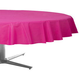 Bright Pink Round Plastic Table Cover, 84""