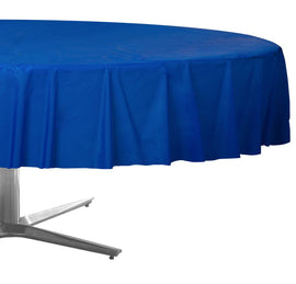 Bright Royal Blue Round Plastic Table Cover, 84""