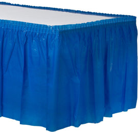 Bright Royal Blue Solid Color Plastic Table Skirt, 14' x 29""