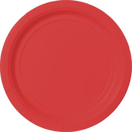 Apple Red Value Solid Round Plates, 9""