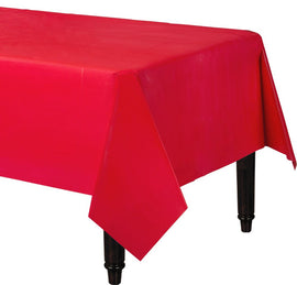 "Apple Red Rectangular Plastic Table Cover, 54"" x 108"""