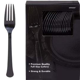Big Party Pack Jet Black Plastic Forks, 100ct