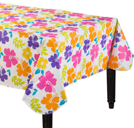 Hibiscus White Flannel-Backed Vinyl Table Cover