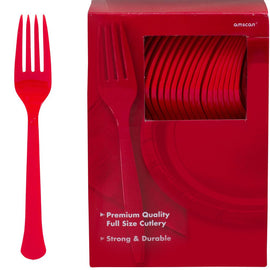 Big Party Pack Apple Red Plastic Forks