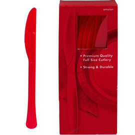 Big Party Pack Apple Red Plastic Knives