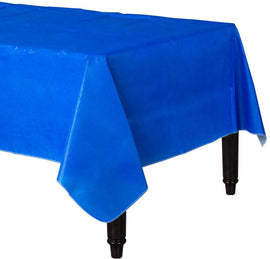 Bright Royal Blue Flannel-Backed Vinyl Table Cover