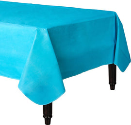 Caribbean Blue Flannel-Backed Vinyl Table Cover