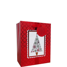 Red & White Holiday Medium Vertical Bag
