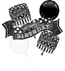 Foil Balloon - Bouquet Black/White Birthday