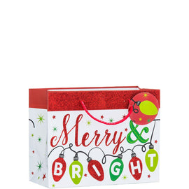 Red and White Merry and Bright -  Medium Horizontal Bag