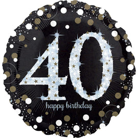 Foil Balloon - Sparkling Birthday 40