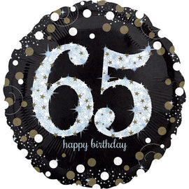 Foil Balloon - Sparkling Birthday 65