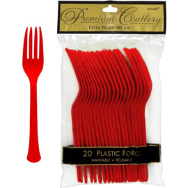 Apple Red Premium Heavy Weight Plastic Forks