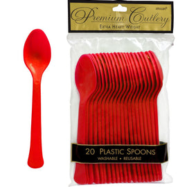Apple Red Premium Heavy Weight Plastic Spoons