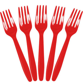 Apple Red Plastic Forks