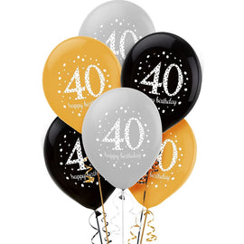 "Sparkling Celebration ""40th Birthday"" Latex Balloons"