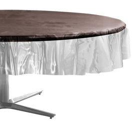 Clear Round Plastic Table Cover, 84""