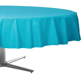 Caribbean Blue Round Plastic Table Cover, 84""