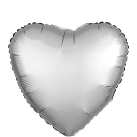 "Foil Balloon - 18"" Hrt Satin Plat"