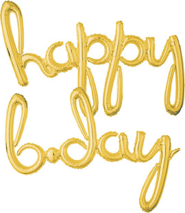 Script Happy Birthday Gold Foil Balloon