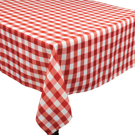 BBQ Red Check Fabric Tablecover, 104""