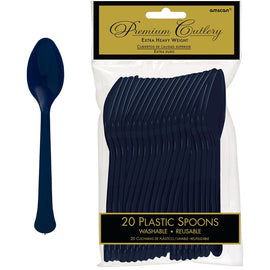 True Navy Premium Heavy Weight Plastic Spoons 20ct