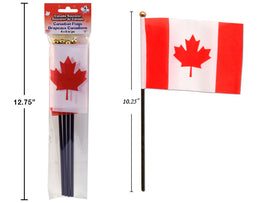 "Canada 4pk 4""x6"" Flags, w/10.25"" Pole"