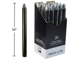"Deco L.10"" Dinner Candle, Black,"