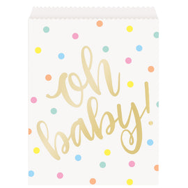 """Oh Baby"" Gold Baby Shower Paper Goodie Bags, 8ct"