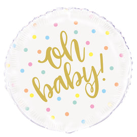 """Oh Baby"" Gold Baby Shower Round Foil Balloon 18"", Packaged"