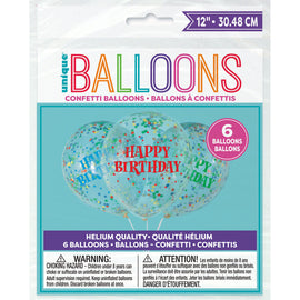 "Birthday Clear Latex Balloons with Bright Confetti 12"", 6ct - Pre-Filled"