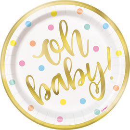 """Oh Baby"" Gold Baby Shower Round 7"" Dessert Plates, 8ct - Foil Board"