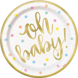"""Oh Baby"" Gold Baby Shower Round 9"" Dinner Plates, 8ct - Foil Board"
