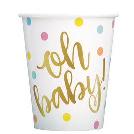 """Oh Baby"" Gold Baby Shower 9oz Paper Cups, 8ct"