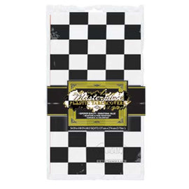 Checkered Tablecover black & white; plastic