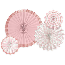 Blush Wedding Paper Fans - Hot Stamp