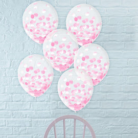 "Latex Balloons w/ Confetti, 12"" -New Pink Foil"