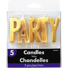 """Party"" Pick Candles - Gold"