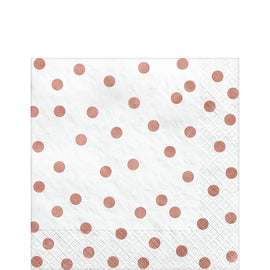 Luncheon Napkins Metallic Confetti Dot - Rose Gold