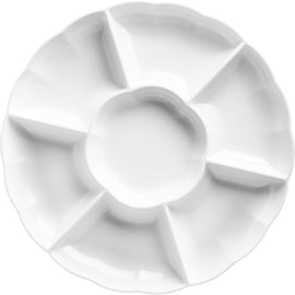 "16"" Compartment Chip & Dip Tray - White"