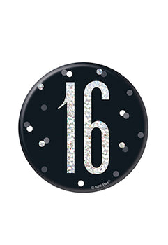 1 Glitz Black & Silver Birthday Badge 16