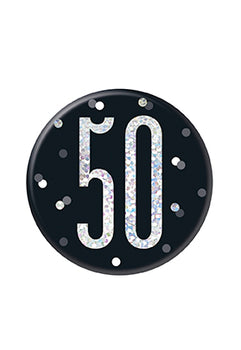 1 Glitz Black & Silver Birthday Badge 50