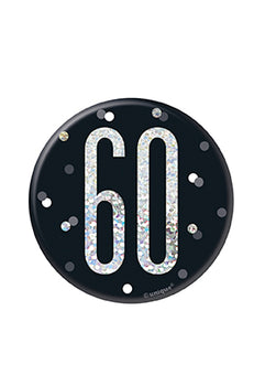 1 Glitz Black & Silver Birthday Badge 60