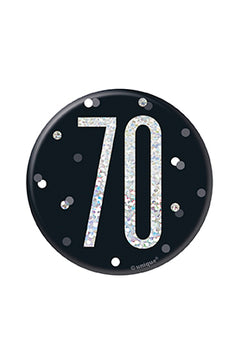 1 Glitz Black & Silver Birthday Badge 70