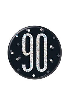 1 Glitz Black & Silver Birthday Badge 90
